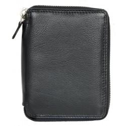 Kožená černá peněženka z kvalitní měkké kůže dokola na zip