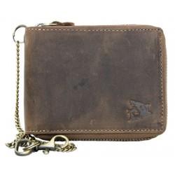Kožená peněženka se žralokem dokola na kovový zip s 30 cm dlouhým řetězem a karabinkou
