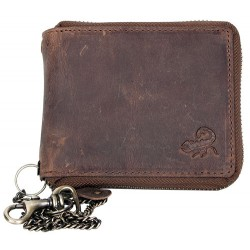 Kožená peněženka se škorpionem dokola na kovový zip s řetězem